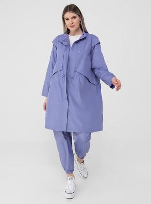 Lilac - Unlined - Polo neck - Plus Size Coat - Alia