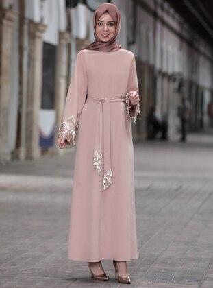 Beige - Crew neck - Unlined - Modest Dress