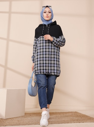 Blue - Checkered - Tunic - Tofisa