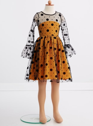 Crew neck - Fully Lined - Yellow - Girls` Dress