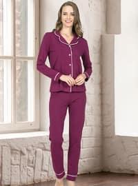 Plum - Shawl Collar - Pyjama Set