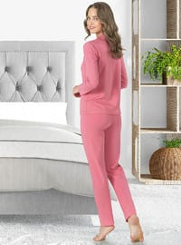Pink - Shawl Collar - Pyjama Set