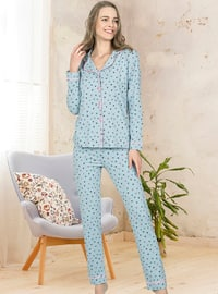 Mint - Shawl Collar - Multi - Pyjama Set