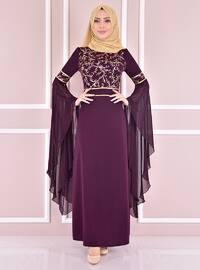 Plum - Unlined - Crew neck - Modest Evening Dress