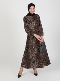 Brown - Leopard - Crew neck - Unlined - Modest Dress