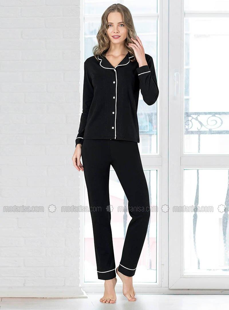 Black - Shawl Collar - Pyjama Set