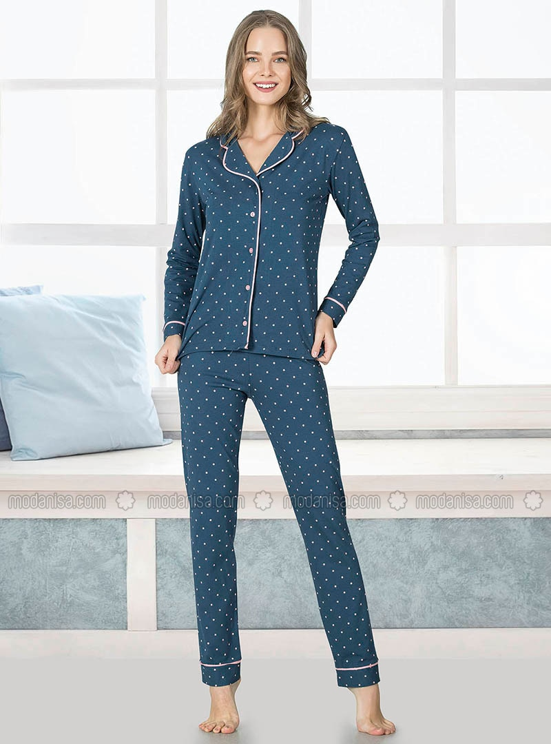 Petrol - Shawl Collar - Multi - Pyjama Set