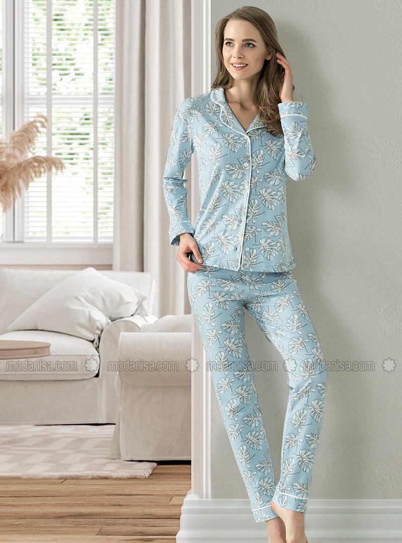 Blue - Shawl Collar - Multi - Pyjama Set