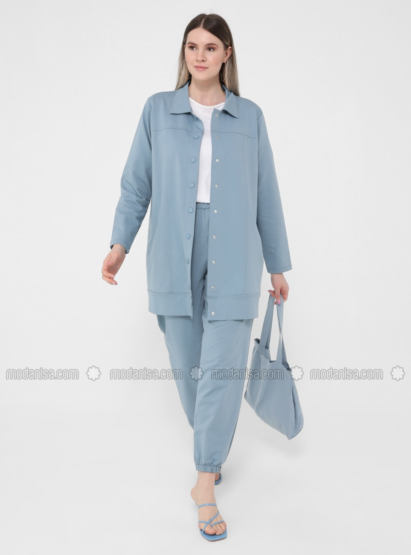 Ice Blue - Point Collar - Unlined - Plus Size Jacket