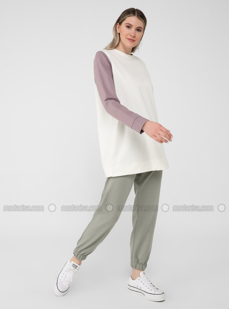 Ecru - Lilac - Olive Green - Plus Size Tracksuit