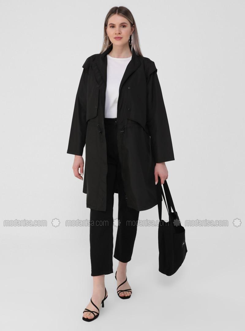 Black - Unlined - Polo neck - Plus Size Coat