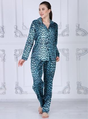 Blue - Shawl Collar - Leopard - Pyjama Set