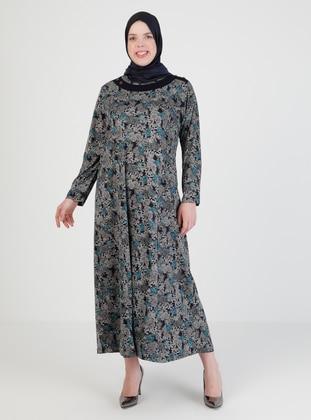 Turquoise - Multi - Crew neck - Unlined - Modest Dress