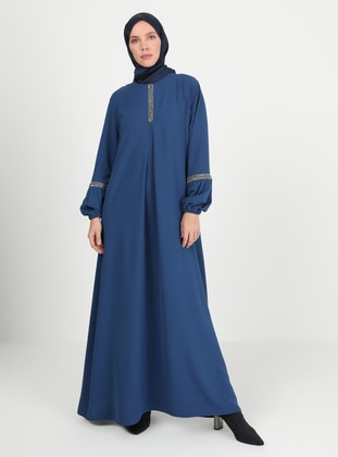 Indigo - Blue - Crew neck - Unlined - Modest Dress