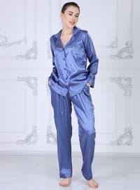 Blue - Shawl Collar - Pyjama Set