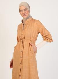 Mustard - Unlined - Crew neck - Abaya