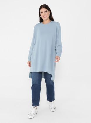 Ice Blue - Blue - Crew neck - Plus Size Tunic