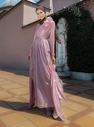 Floral Detailed Tulle Evening Dress - Dusty Rose - Refka Woman