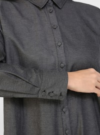 Black - Unlined - Point Collar - Plus Size Dress