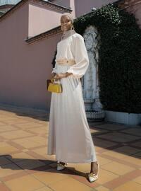 Balloon Sleeve Sequin Evening Dress - Beige - Refka Woman