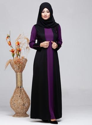 Purple - Crew neck - Modest Dress