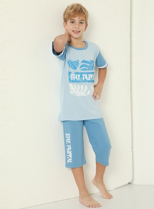 Crew neck - Baby Blue - Blue - Boys` Suit