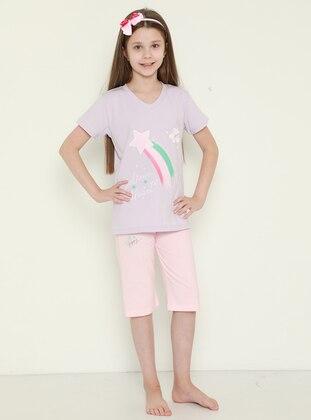 V neck Collar - Lilac - Pink - Girls` Suit