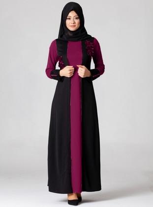 Plum - Cherry - Crew neck - Modest Dress