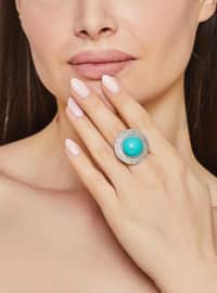 Silver tone - Turquoise - Ring