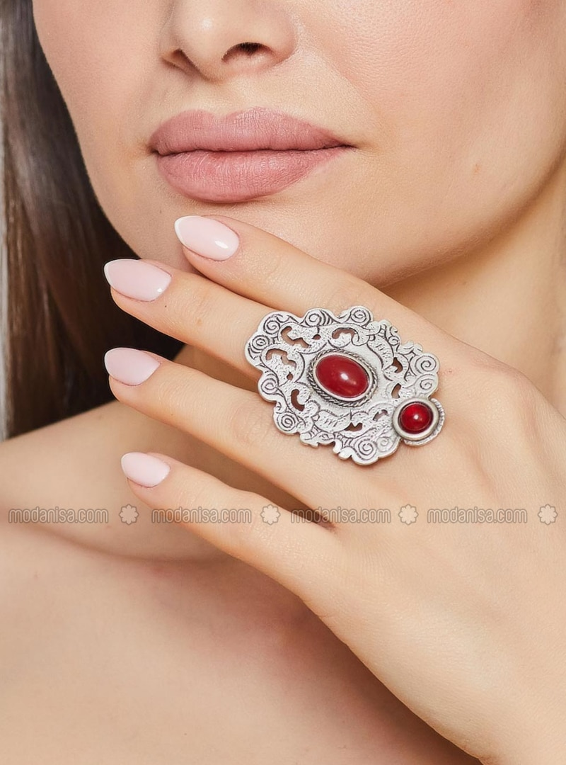 Silver tone - Red - Ring