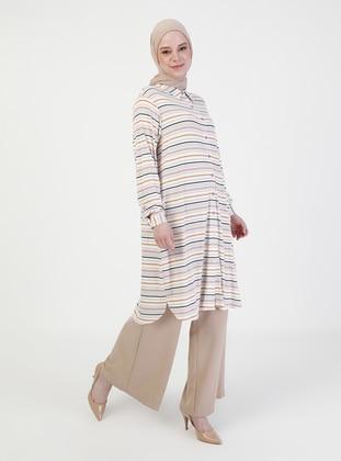 White - Stripe - Point Collar - Tunic