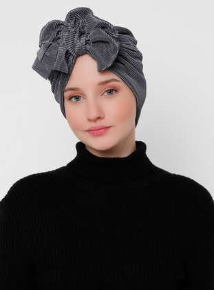 Gray - Silver tone - Plain - Instant Scarf