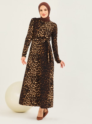 Mink - Leopard - Crew neck - Unlined - Modest Dress