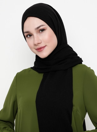 Black - Plain - Cotton - Shawl