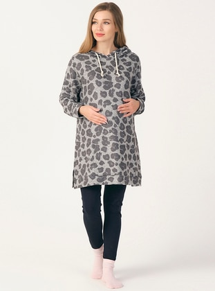 Gray - Multi - Maternity Tunic / T-Shirt