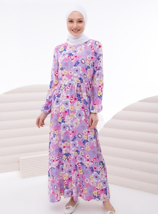 Lilac - Multi - Crew neck - Unlined - Modest Dress