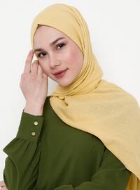Yellow - Plain - Cotton - Shawl
