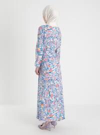 Lilac - Multi - Crew neck - Unlined - Modest Dress