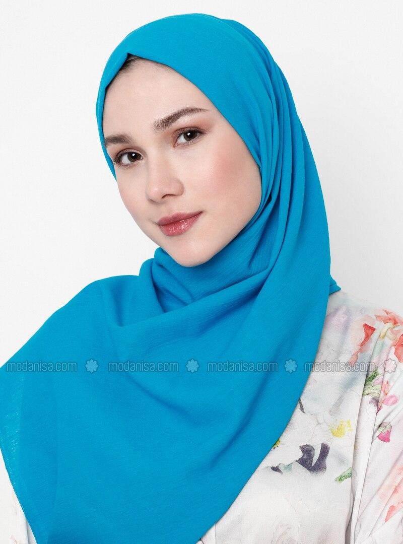 Turquoise - Plain - Cotton - Shawl