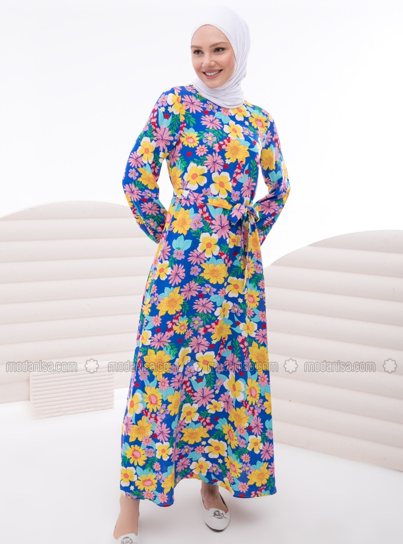 Saxe - Multi - Crew neck - Unlined - Modest Dress