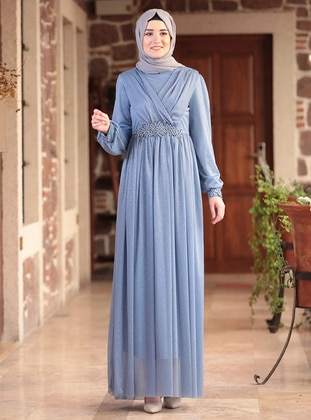 Baby Blue - Fully Lined - Crew neck - Modest Evening Dress