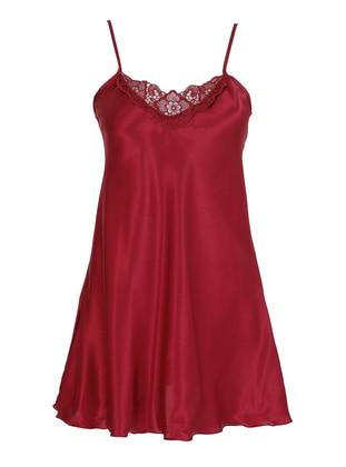 Maroon - V neck Collar - Nightdress