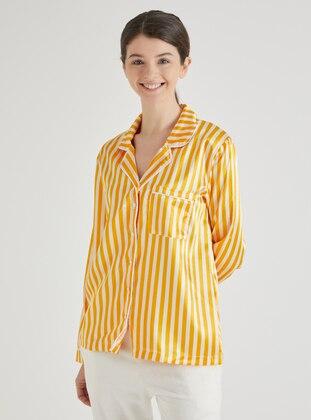 Ecru - Mustard - V neck Collar - Stripe - Pyjama