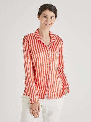 Ecru - Red - V neck Collar - Stripe - Pyjama