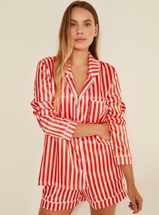 Red - V neck Collar - Stripe - Pyjama