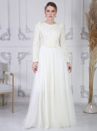 White - Ecru - Fully Lined - Crew neck - Modest Evening Dress