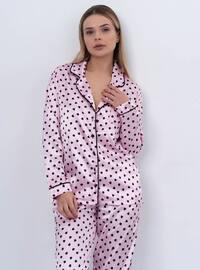 Pink - V neck Collar - Polka Dot - Pyjama Set