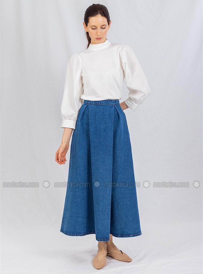 Blue - Unlined - Skirt - DE-MİM