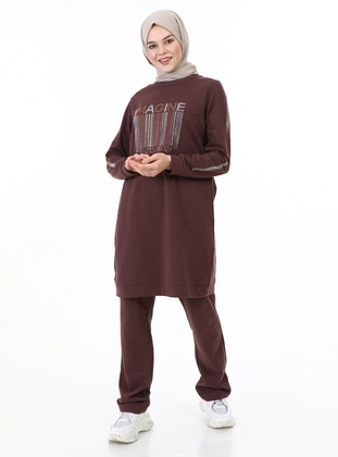 Brown - Crew neck - Tracksuit Set