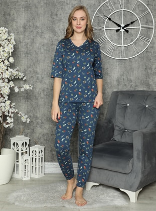 Navy Blue - V neck Collar - Floral - Pyjama Set